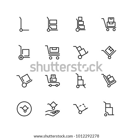 Dolly flat icon set. Single high quality outline symbol of info for web design or mobile app. Thin line signs for design logo, visit card, etc. Outline logo of dolly Stock photo ©