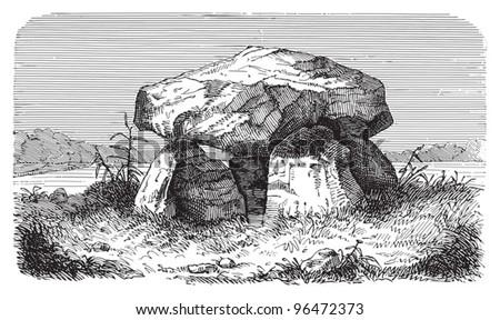 Dolmen or Portal grave (stone age) / vintage illustration from Meyers Konversations-Lexikon 1897 - stock vector
