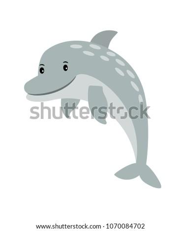 Dolphin cartoon sea animal icon isolated on white, vector illustration