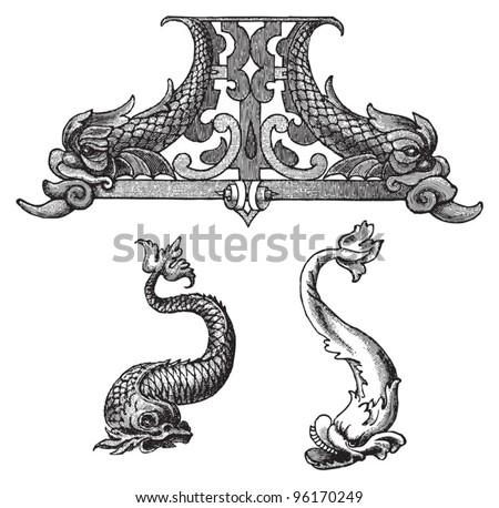 Dolphin decorative elements / vintage illustration from Meyers Konversations-Lexikon 1897