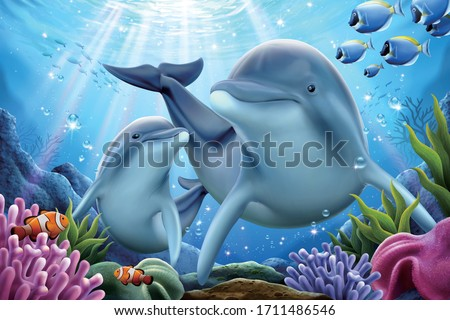dolphin family playing together