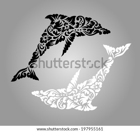 dolphin floral ornament