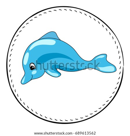 Dolphin isolated on white background. Friendly dolphin cartoon vector illustration. Underwater animal handdrawn patch. Sea animal drawing. Dolphin animal clipart. Marine fauna character. Dolphin icon