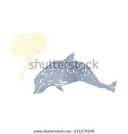 dolphin retro illustration with