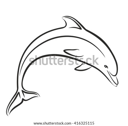 dolphin sketch in jump