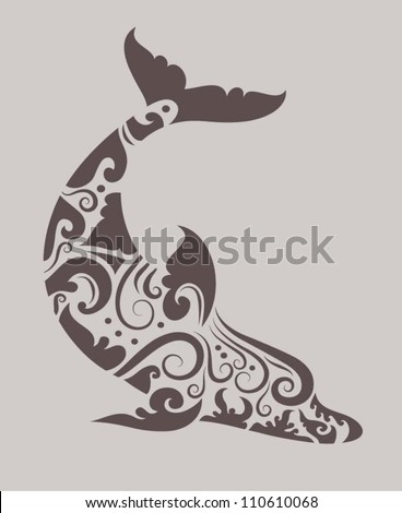 Dolphin Tribal Vector Drawing With Floral