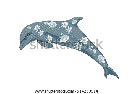 dolphin with flowers vector