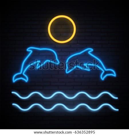 dolphins neon pattern summer