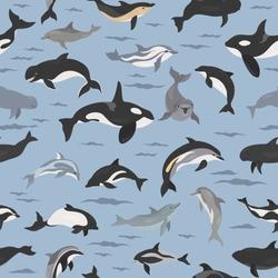 Dolphins seamless pattern. Marine mammals collection. Cartoon flat style design. Vector illustration