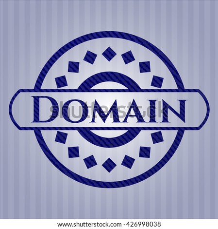 Domain emblem with denim high quality background