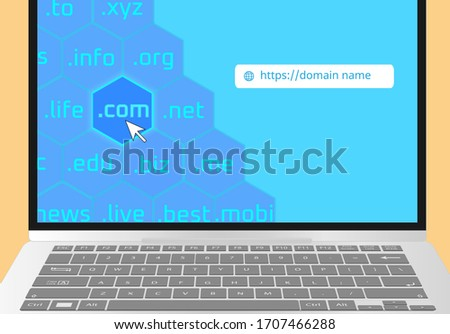 Domain extensions in laptop display - Domain name www Communication, Domain name registration,Domain Global Communication Homepage, Get best domain Url website to grow your business power.  Foto stock ©