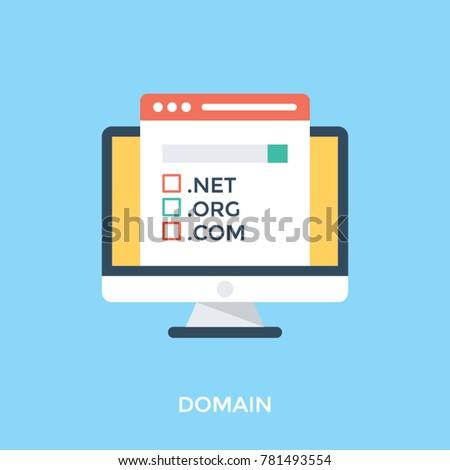 Domain name registration, flat design vector illustration