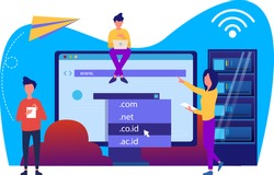 domain registration and name with a web domain icon and hosting on website creation. modern flat vector illustration design concepts