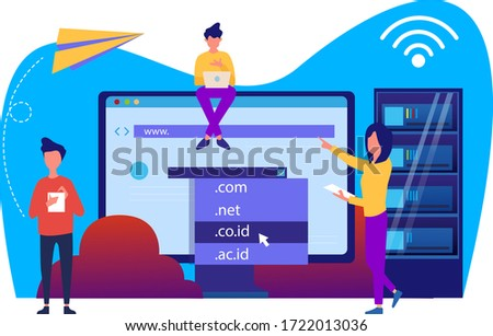 domain registration and name with a web domain icon and hosting on website creation. modern flat vector illustration design concepts Foto stock ©