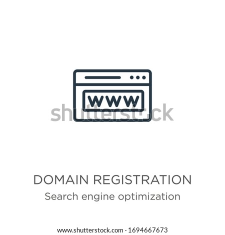 Domain registration icon. Thin linear domain registration outline icon isolated on white background from search engine optimization collection. Line vector sign, symbol for web and mobile Foto stock ©