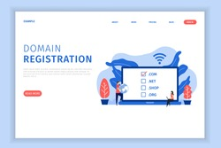 Domain registration illustration concept with character landing page template