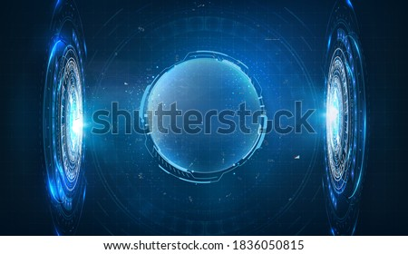 Dome shield geometric on a blue futuristic background. Hologram Bubble shield. Blank display, stage for show product in futuristic cyberpunk style. Cover concept in technological game style. Vector 3d