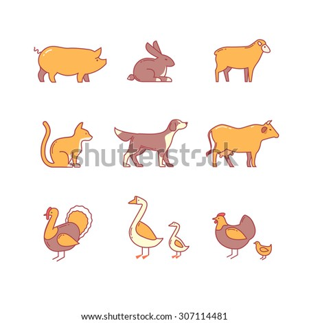 domestic and farm animals thin