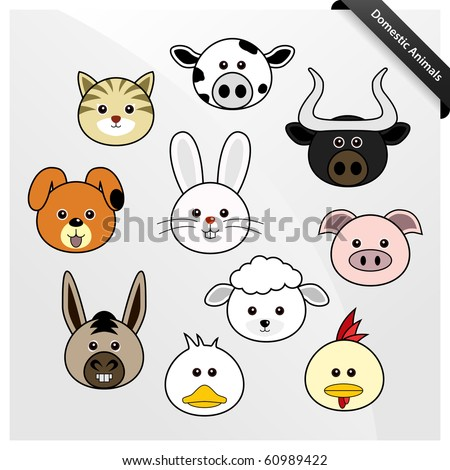 Domestic Animal Cute Cartoon - stock vector