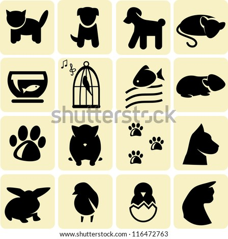Domestic animals icons