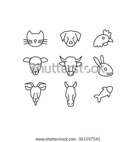 Domestic animals line icons set