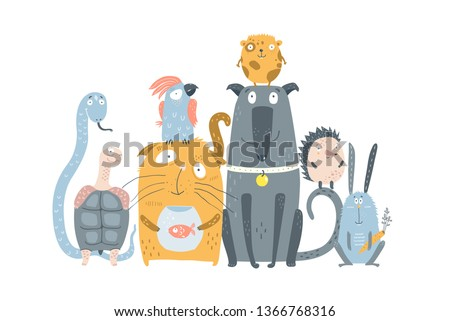 Domestic Animals Pet Shop. Many cute pets sitting together graphic design. Vector illustration