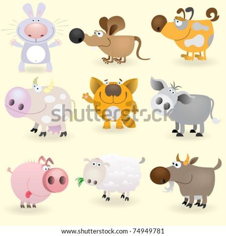 Domestic animals set - stock vector