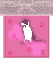 Domestic dog home alone concept in cutout and 3d themes.