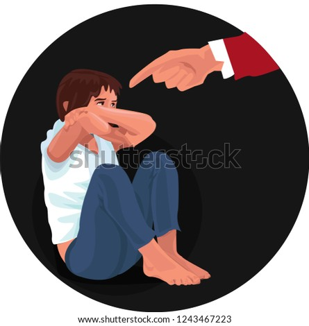 Domestic & Family Violence. Strict father. Man scolds a child.  Sad child sitting on the floor.  Family violence. Vector illustration in a flat style