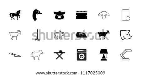 Domestic icon. collection of 18 domestic filled and outline icons such as horse, goat, broom, ironing table, iron, sponge, pig. editable domestic icons for web and mobile.