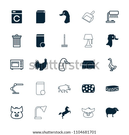 Domestic icon. collection of 25 domestic filled and outline icons such as washing machine, sheep, sponge, turkey, horse, pig. editable domestic icons for web and mobile.