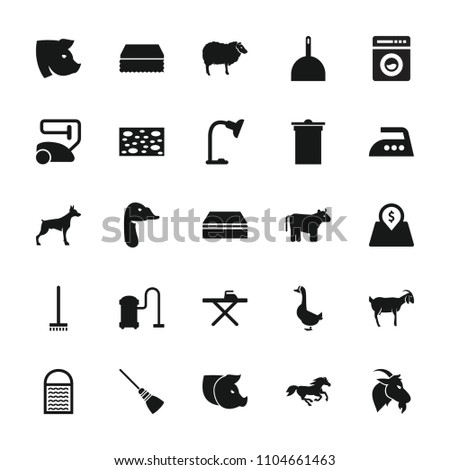 Domestic icon. collection of 25 domestic filled icons such as cow, dog, sheep, horse, pig, goat, goose, vacuum cleaner, dustpan. editable domestic icons for web and mobile.