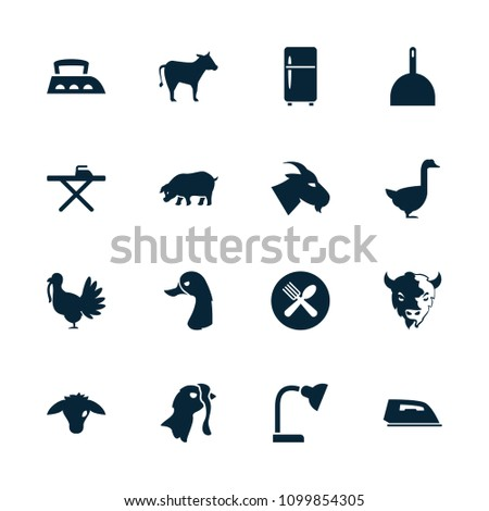 Domestic icon. collection of 16 domestic filled icons such as goat, goose, dustpan, ironing table, iron, spoon and fork, cow. editable domestic icons for web and mobile.
