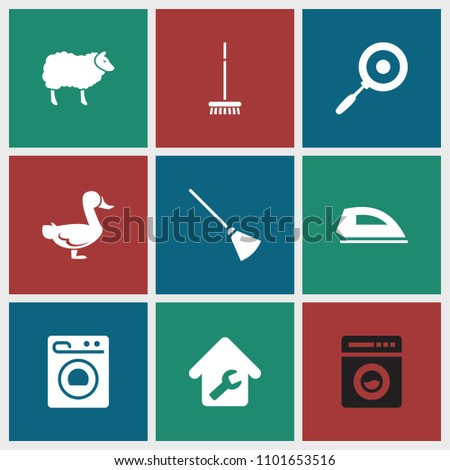 Domestic icon. collection of 9 domestic filled icons such as home repair, washing machine, pan, sheep, goose, broom. editable domestic icons for web and mobile.