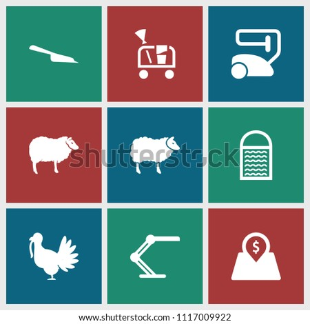 Domestic icon. collection of 9 domestic filled icons such as sheep, vacuum cleaner, dustpan, table lamp, lot price, cleaning tools. editable domestic icons for web and mobile.
