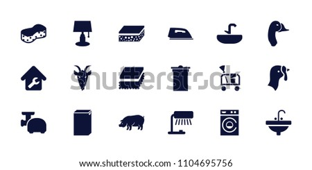 Domestic icon. collection of 18 domestic filled icons such as turkey, pig, goat, trash bin, iron, washing machine, sponge, sink. editable domestic icons for web and mobile.