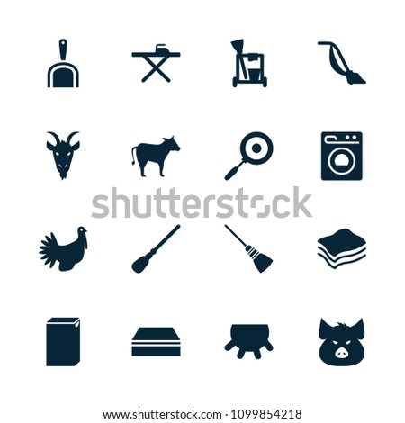 Domestic icon. collection of 16 domestic filled icons such as udder, pig, goat, cleaning tools, mop, sponge, ironing table. editable domestic icons for web and mobile.