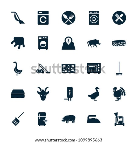 Domestic icon. collection of 25 domestic filled icons such as washing machine, goose, pig, cleaning tools, sponge, iron. editable domestic icons for web and mobile.