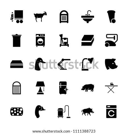 Domestic icon. collection of 25 domestic filled icons such as washing machine, goose, pig, goat, cleaning tools, vacuum cleaner. editable domestic icons for web and mobile.