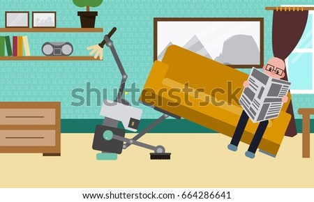 domestic robot cleaning the...