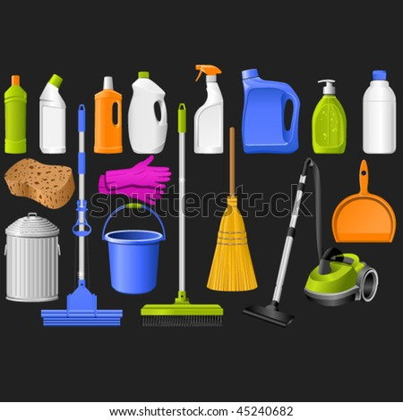 domestic tools for cleaning on