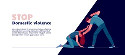 Domestic Violence concept. Drunk abusive husband punching and hitting frightened wife. Colorful vector illustration for web and printing.