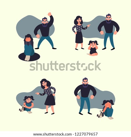 Domestic violence concept. Family conflict situations. Inadequate behaviour.