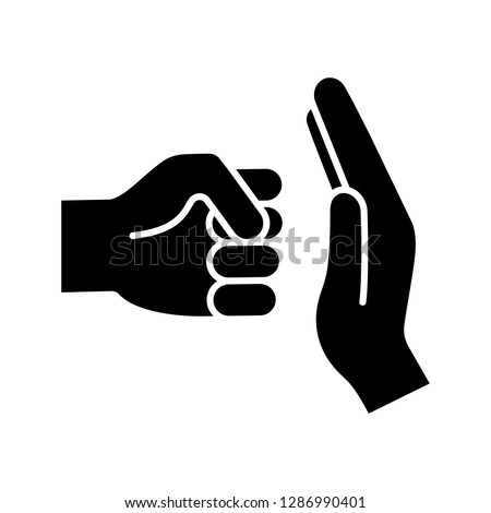 Domestic violence glyph icon. Silhouette symbol. Domestic abuse. Family violence. Man fist and stop hand gesture. Negative space. Vector isolated illustration
