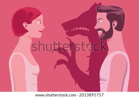 Domestic violence represented by a young couple where the man pretends kindness but casts the shadow of an aggressive beast. Violence against woman. Photo stock ©