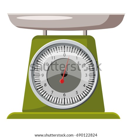 Domestic weigh scales icon. Cartoon illustration of domestic weigh scales vector icon for web design