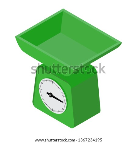 Domestic weigh scales icon. Domestic weigh scales isometric view for web design