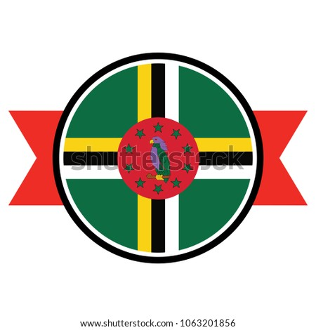 dominica flag in round button