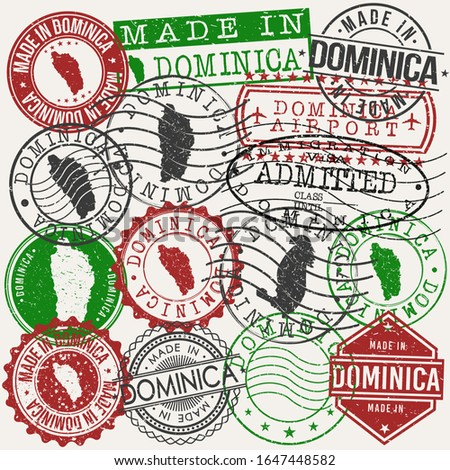 Dominica Set of Stamps. Travel Passport Stamps. Made In Product. Design Seals in Old Style Insignia. Icon Clip Art Vector Collection.  Stockfoto ©