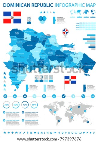 Dominican Republic infographic map and flag - High Detailed Vector Illustration